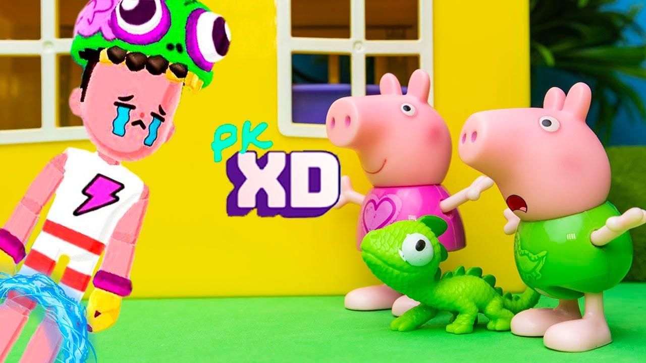 Peppa Pig e George Pig encontraram um Menino do PK XD Perdido ao lado de caso!