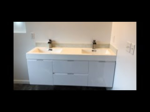How To Install A Wall Mounted Hung Bathroom Vanity Youtube