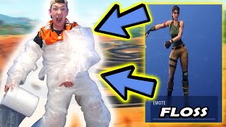Fortnite Dances in Real Life WRAPPED IN BUBBLE WRAP (Thank YOU for 100,000 Views)