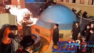 Karlin Stolin Rebbe Pouring Oil In Meron Lag Baomer 5780