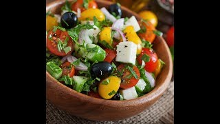 آموزش درست کردن سالاد یونانی در سه سوت - How To Make Greek Salad