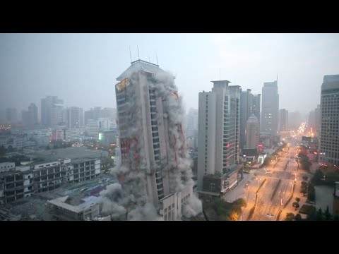 118-Meter-High Building Demolished in around 13 Seconds in NW China