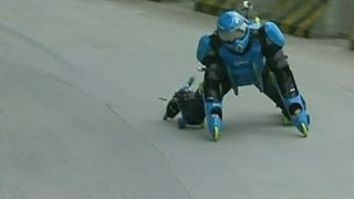 Roller-suit: Man races down Chinese mountain in 32-wheeled outfit