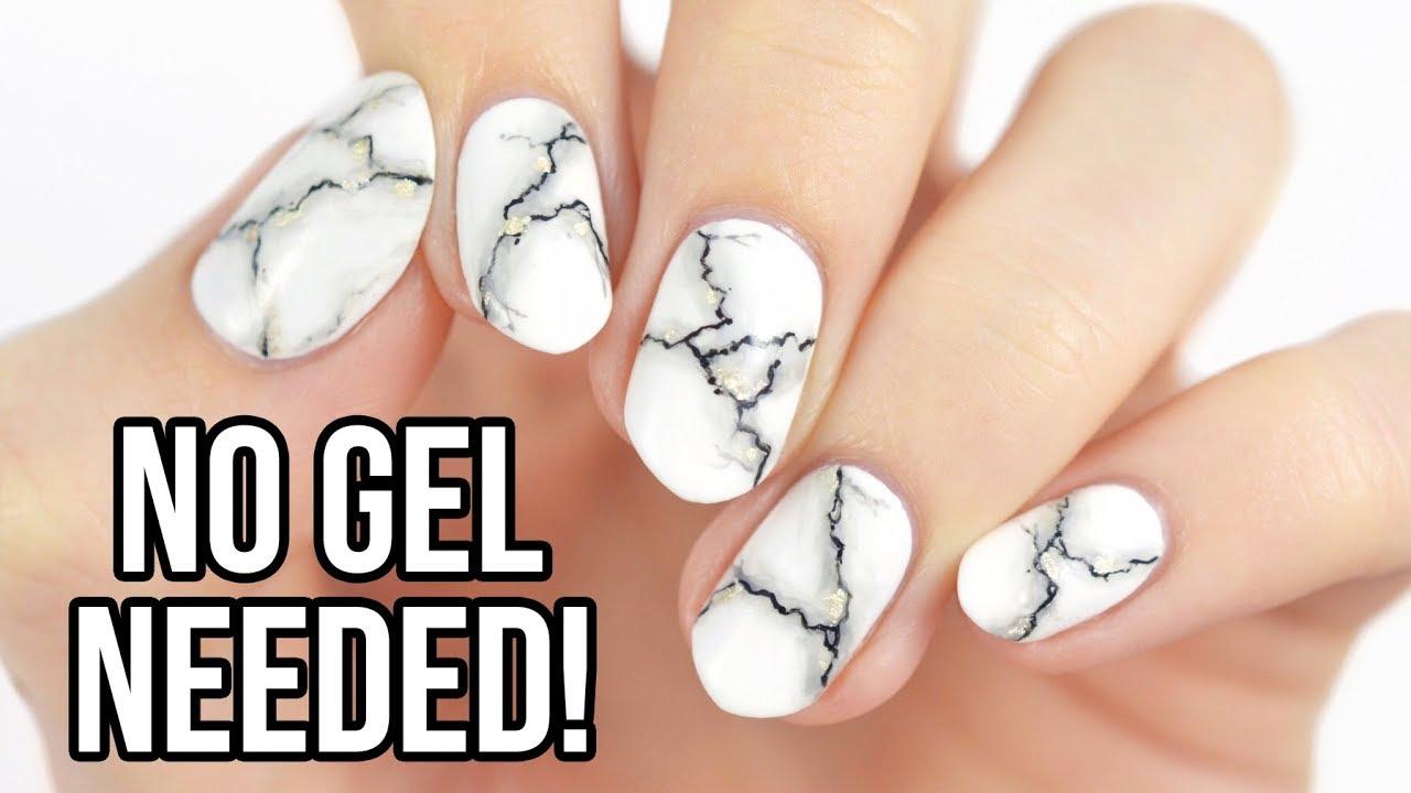 Realistic White Marble Nails Using Regular Nail Polish Youtube