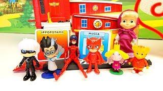LADYBUG e Super Pigiamini giocano con MASHA E ORSO alfabeto al CONTRARIO!!