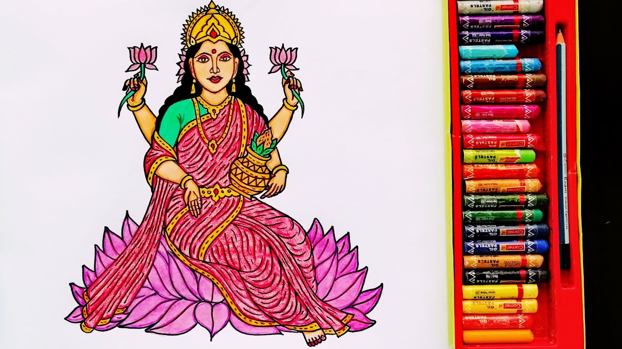 How to Draw Goddess Lakshmi Step By Step   Painting Of Lakshmi Mata   By Drawing Art