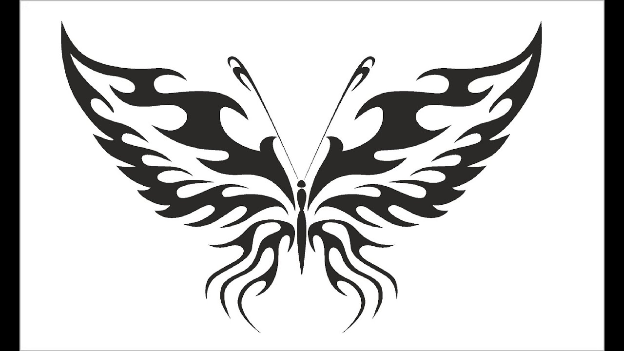 how to draw butterfly tattoo