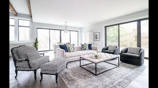 A combined living and dining area gets an elegant makeover