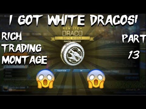 *OMG* I GOT WHITE DRACOS! Rocket League Rich Trading Montage Part 13! BIGGEST TRADES YET!