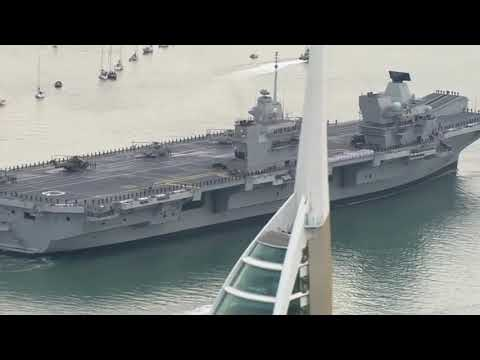 Queen Elizabeth Aircraft Carrier Entering Portsmouth