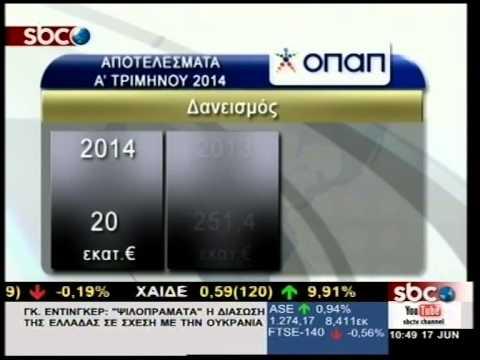 SBCTV ΟΠΑΠ: ΤΑ ΑΠΟΤΕΛΕΣΜΑΤΑ ΤΟΥ Α' ΤΡΙΜΗΝΟΥ 2014