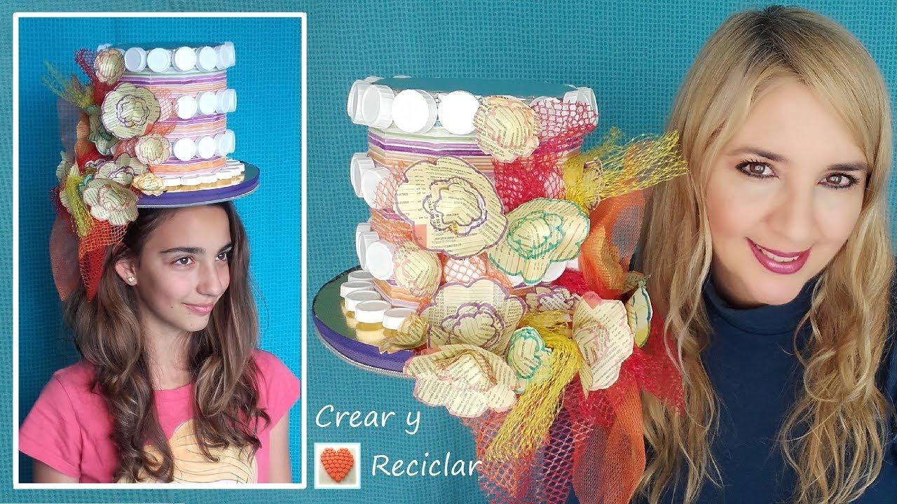 Tocado sombrero para carnaval con reciclaje DIY - YouTube 788de102671