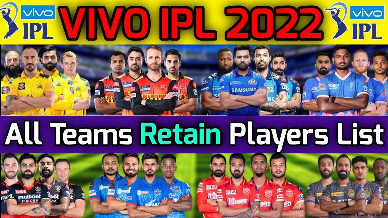 Download VIVO IPL 2022 All Teams Retain Players list | IPL 2022 All Teams Probable Retained Players List