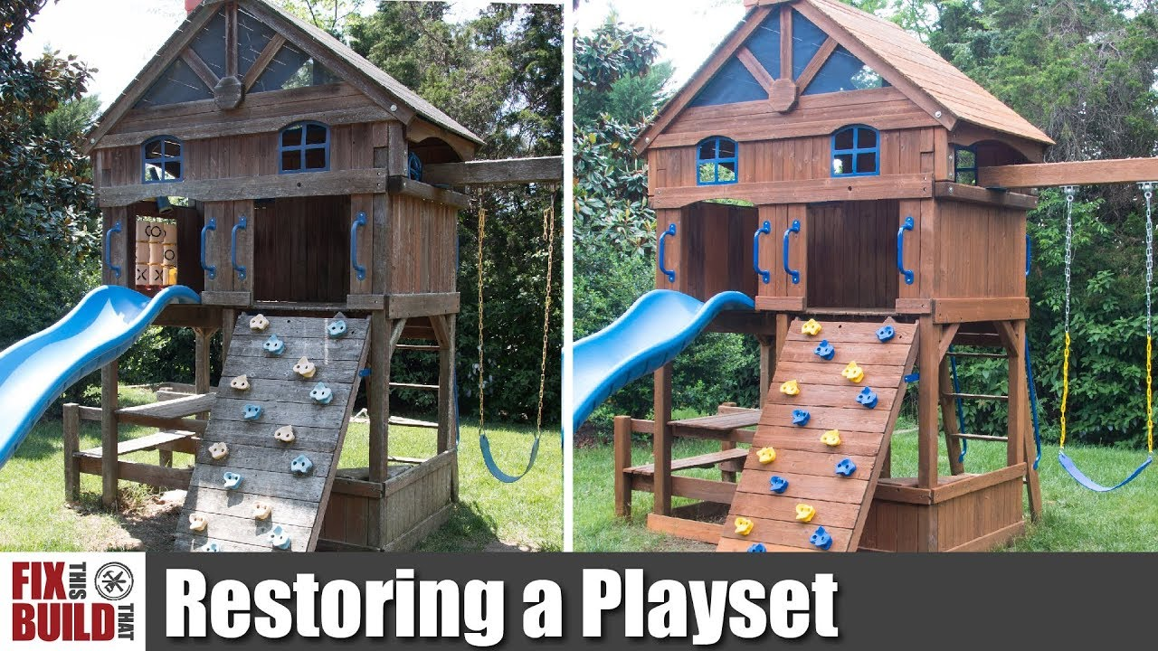 How To Restore An Old Wooden Playset Swing Set Restoration Youtube