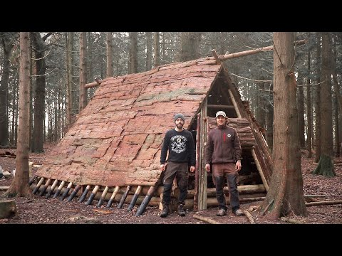 Viking House: Full Bushcraft Shelter Build with Hand Tools | Vikings