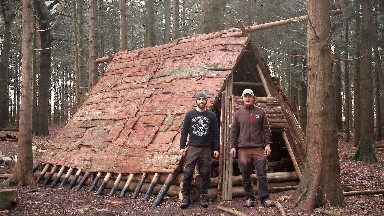 Viking House Full Bushcraft Shelter Build With Hand Tools