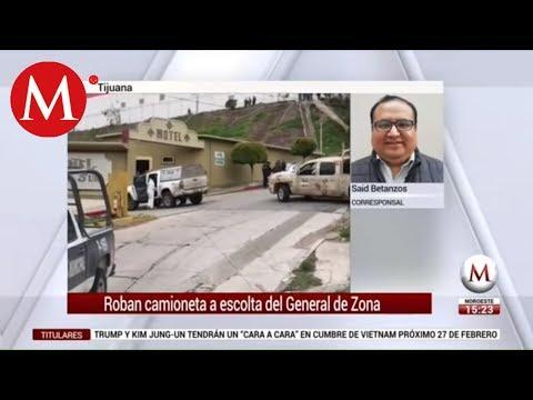 Robo de camioneta a escolta de general en Tijuana desata balacera