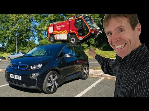 BMW i3 Full Electric Test Drive & A New Airport Fire Engine!! - Stavros969