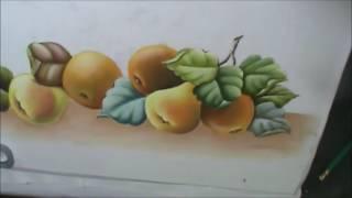 Peras, laranjas e folhas – Pintura em tecido Cristina Ribeiro