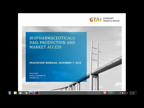 Webinar: Biopharmaceuticals, R&D, Production and Market Access (Dec 2016)