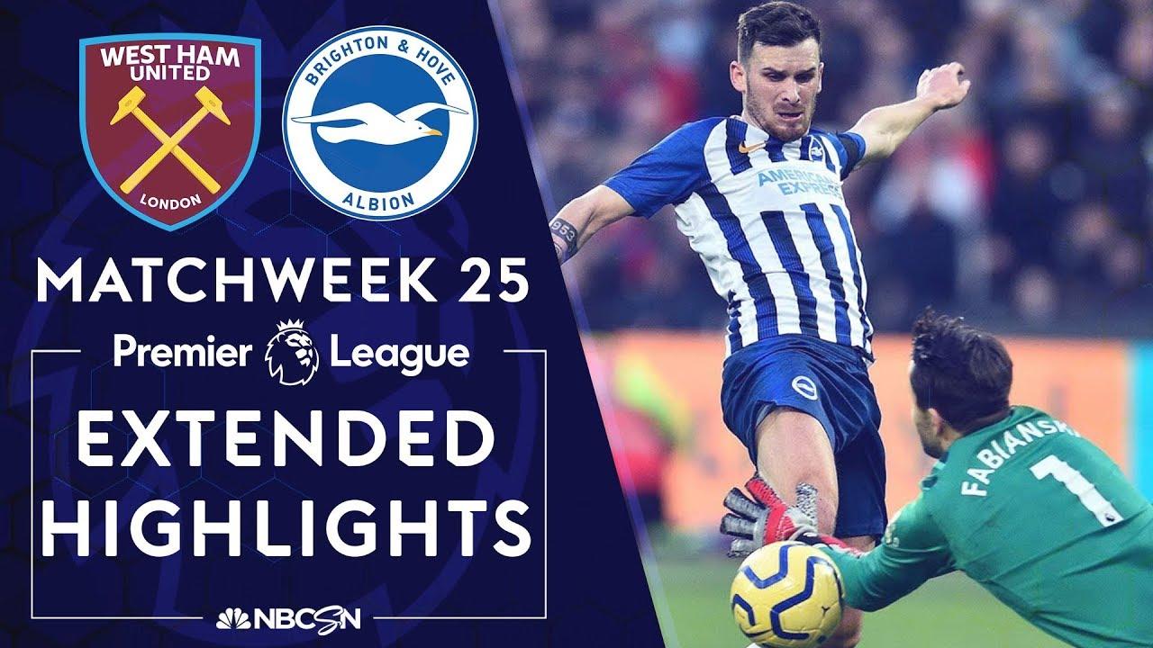 West Ham v. Brighton | PREMIER LEAGUE HIGHLIGHTS | 2/1/2020 | NBC Sports