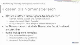 C++ Übung 1 (27.11.2013): Ein-/Ausgabe, Klassen anlegen, Namespaces