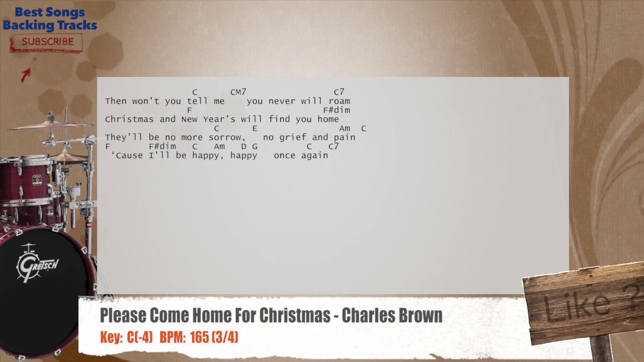 Charles Brown Please Come Home For Christmas - Please come home for christmas charles brown drums backing track with chords and lyrics