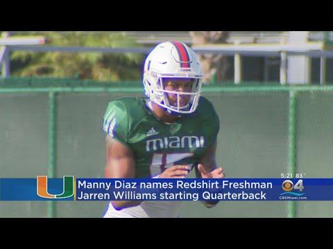 Head Coach Manny Diaz Names Jarren Williams Starting QB For Miami Hurricanes