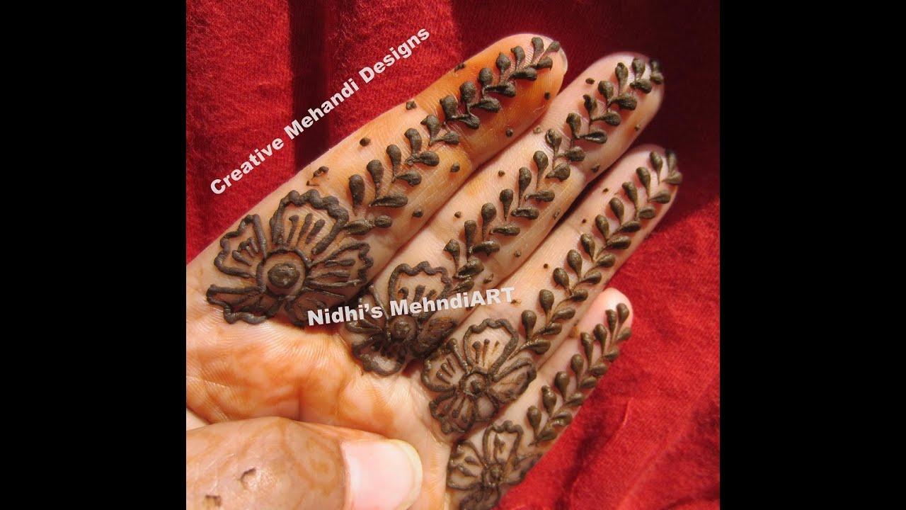 Finger Henna Designs Mehndi Designs For: Easy Finger Henna Mehndi Design Tutorial For Beginners