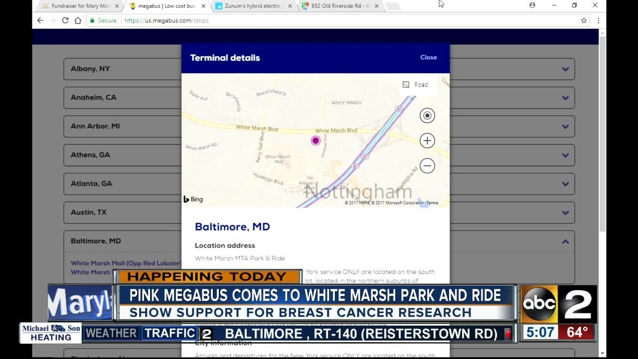 Pink Megabus comes to White Marsh Park and Ride