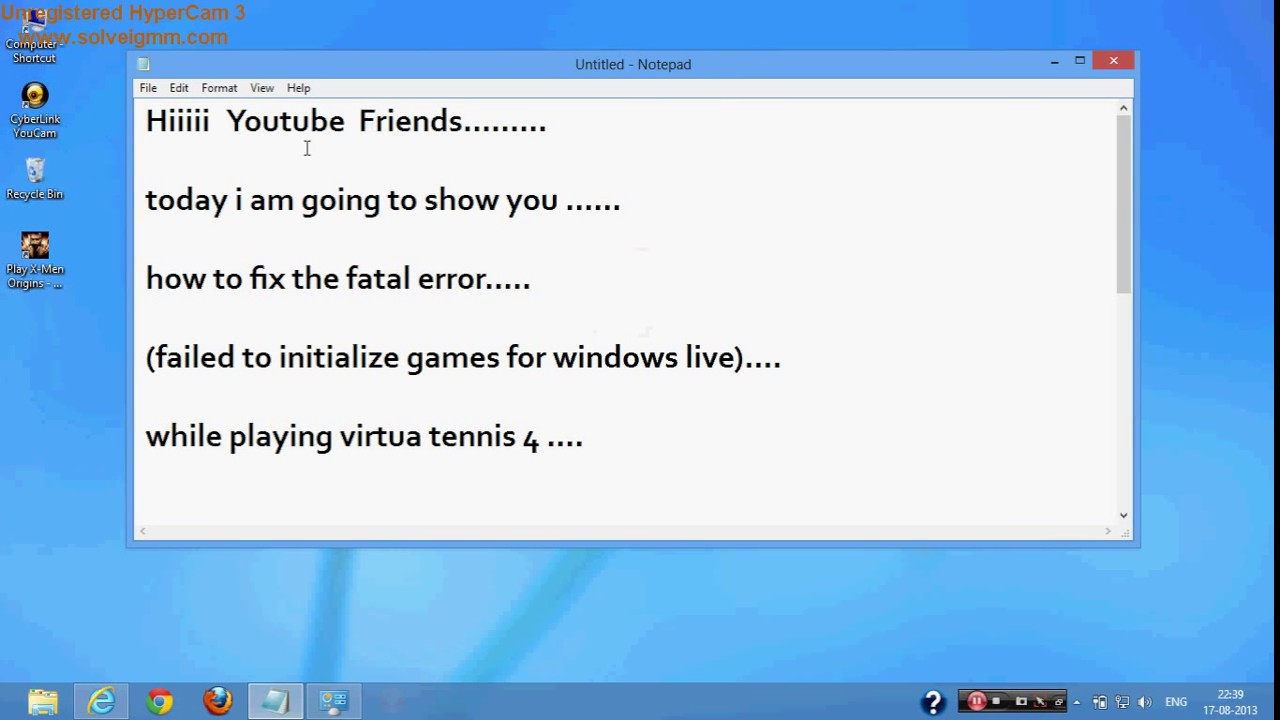 failed to initialize games for windows live virtua tennis 4