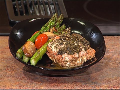 Cooking Healthy with Coastline Baked Salmon and Asparagus with Balsamic Tomatoes and Mushrooms
