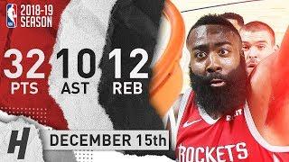 James Harden Triple-Double Highlights Rockets vs Grizzlies 2018.12.15 - 32 Pts, 10 Ast, 12 Rebounds!