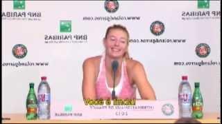 Brazilian journalist speaks in Russian to Maria Sharapova