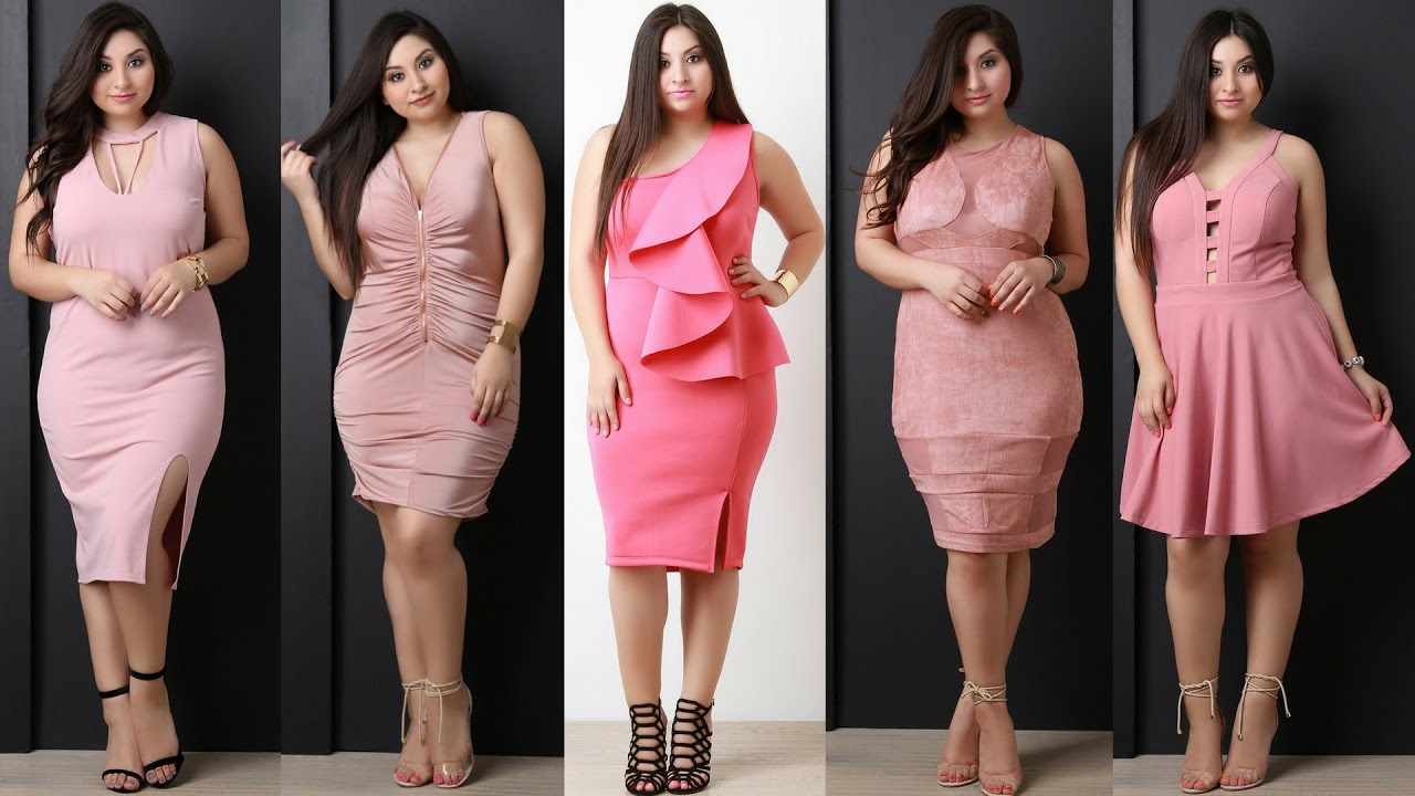 Plus Size Curvy Pink Party Dresses Vestidos Rosa Para Gorditas Junior Lookbook