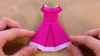 Origami Kleid basteln mit Papier - Bastelideen - DIY Geschenk - Einfache Origami Kleidun