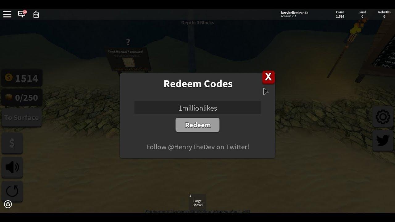 Roblox||Treasure Hunt Simulator Codes!!2018 - YouTube