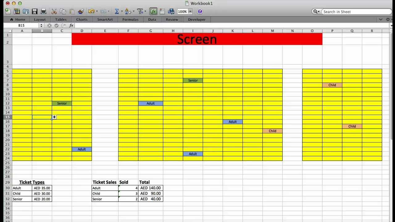 Movie Theater Ticket System With Excel Youtube