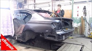 BMW 7 Series - Repairing severe rear end collision damage.