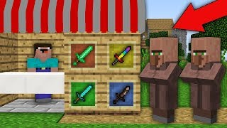Minecraft NOOB vs PRO: NOOB OPENED SUPER SWORD SHOP IN VILLAGE! Challenge 100% trolling