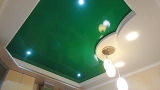 видео Натяжные потолки на кухне 9 кв с установкой