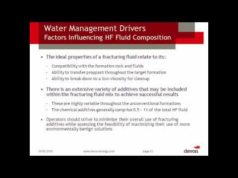 HF-2 Water Management Associated With Hydraulic Fracturing (Part 1)