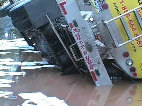 Heating oil truck overturns in Pocono Lake, Pa.