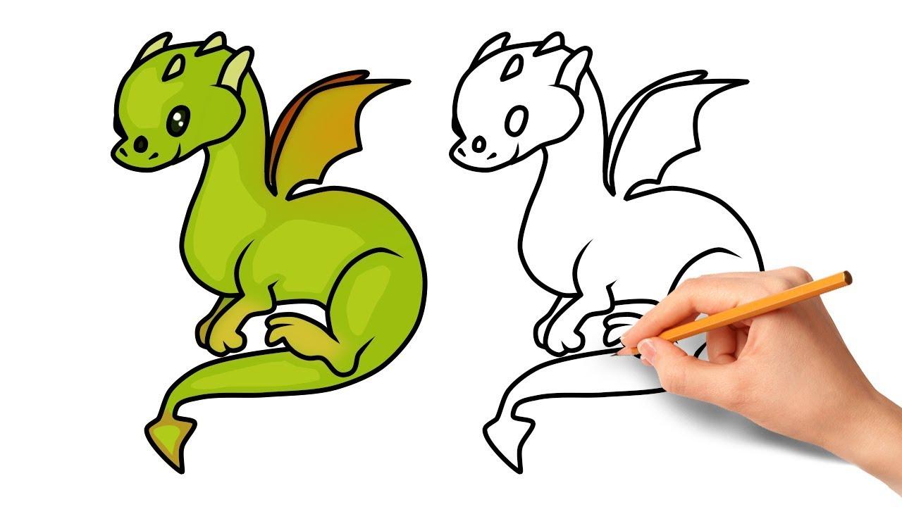 How to Draw a Cartoon Dragon - YouTube