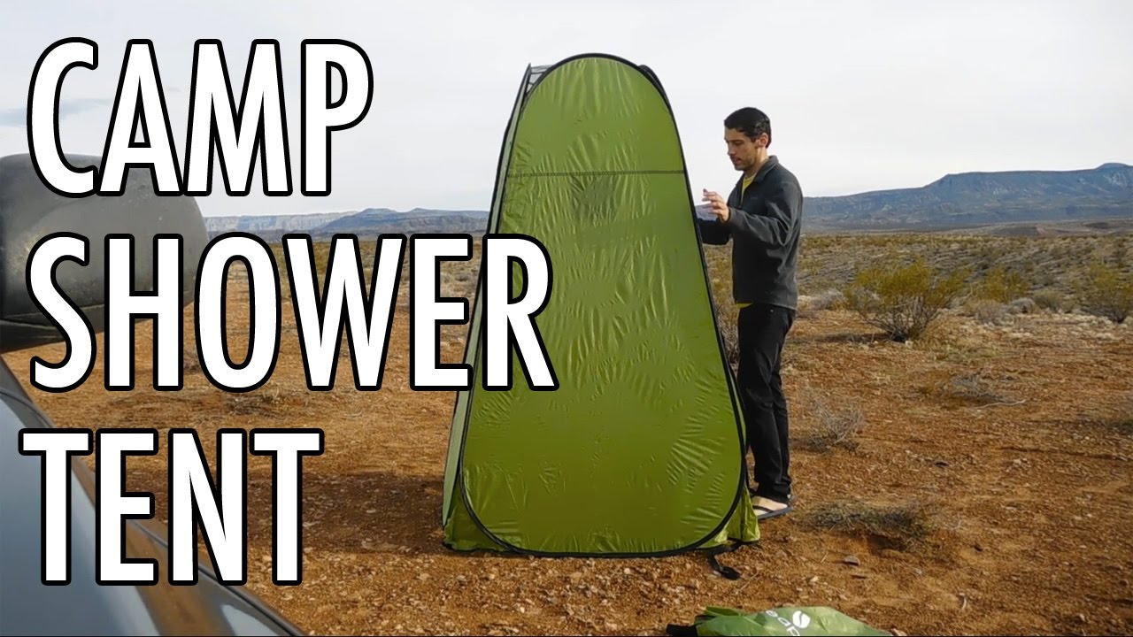 Testing The New Camp Shower Tent YouTube - Camping bathroom tent