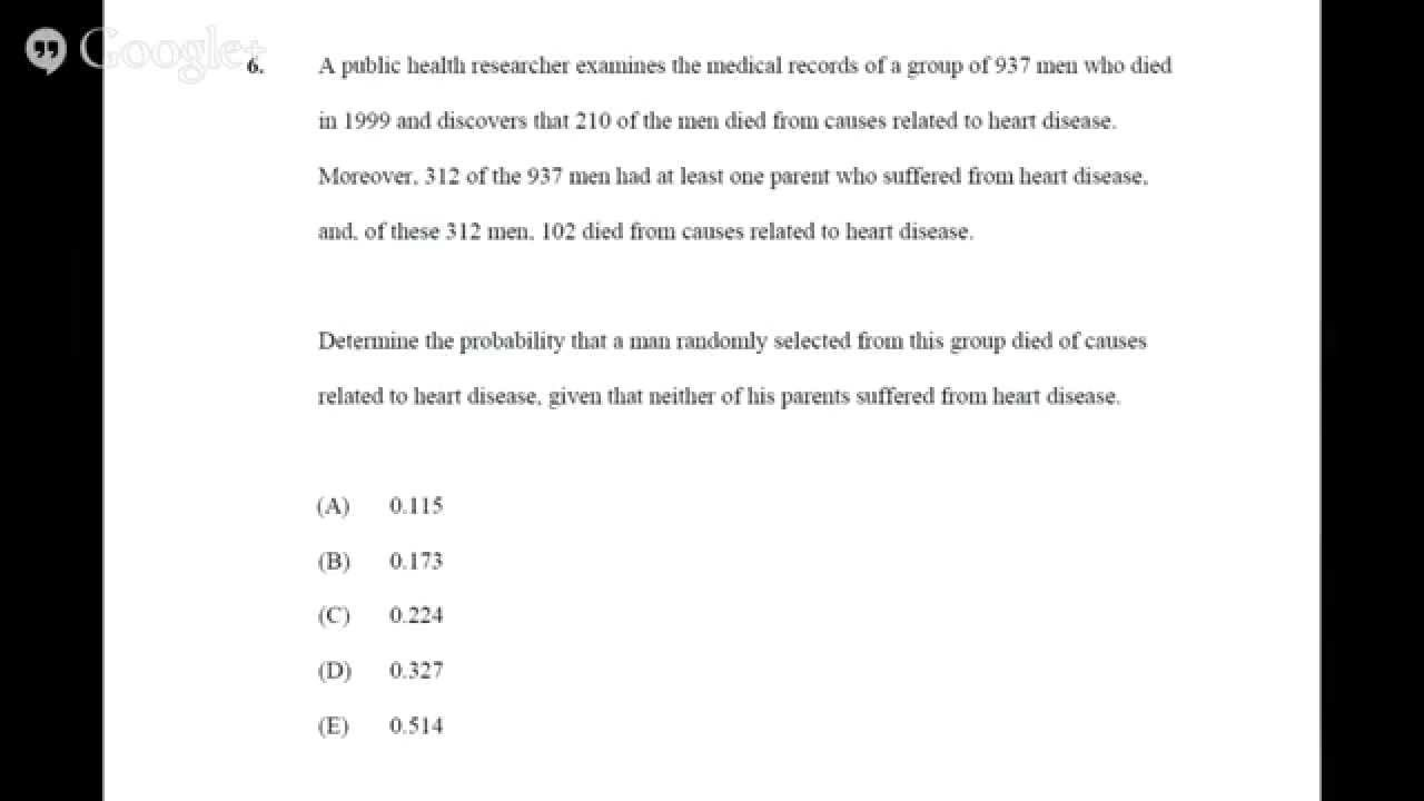 Actuarial Study Group: Exam P: Question 6