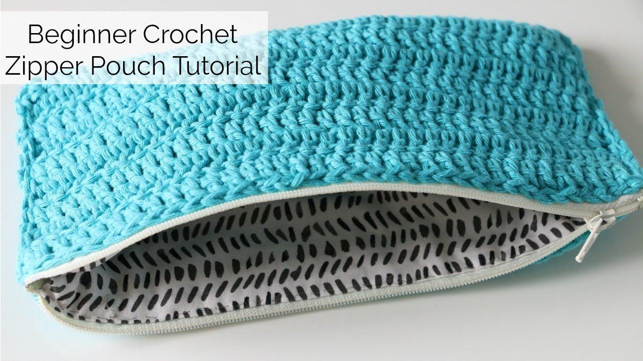Beginner Crochet Zip Pouch Tutorial - No sewing machine - YouTube