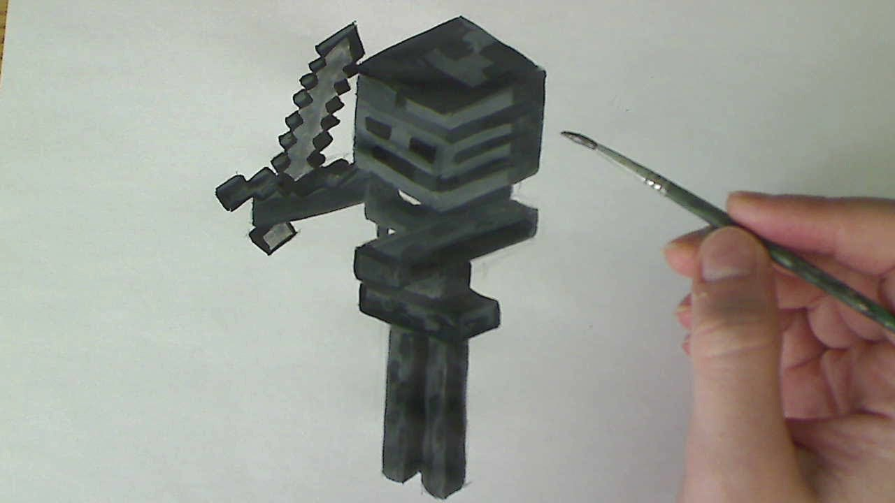 How To Draw Paint Wither Skeleton Minecraft Youtube