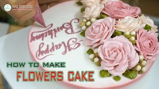 How To Make Beautiful Flowers Cake | Cách Trang Trí Một Chiếc Bánh Hoa Xinh Xắn