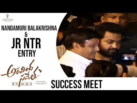 Nandamuri Balakrishna And Jr Ntr Entry @ Aravinda Sametha Success Meet